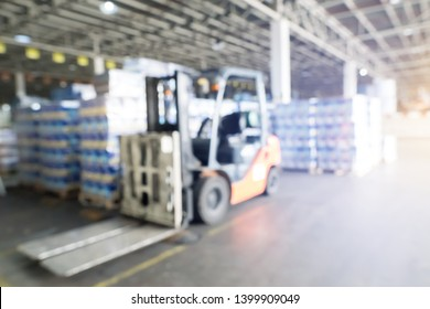 Abstract blurred Forklift car at factory and warehouse room background for industry - Image
