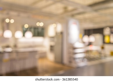 Abstract blurred furniture home decor store background