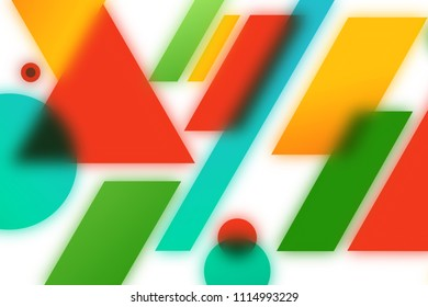 Abstract blurred geometric shapes isolated on white background.
