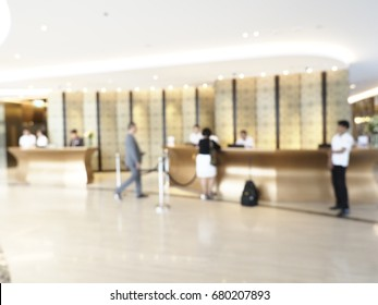 Abstract blurred hotel lobby luxury interior for Background, hotel front desk, reception counter, business travel concept
