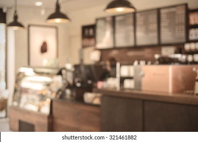 Abstract blurred image bar and counter in coffee shop, Vintage tone