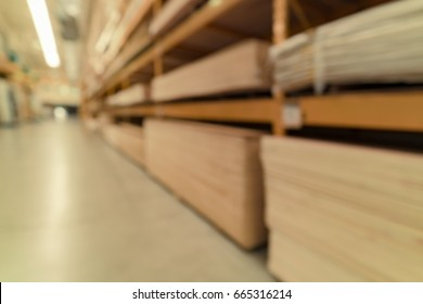 Abstract blurred image of Building materials shop store, hardware shop for background usage