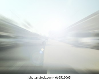 Abstract blurred image of Car parking in car park on daytime