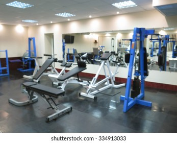 Abstract blurred image of interior athletic gym for fitness with bokeh background