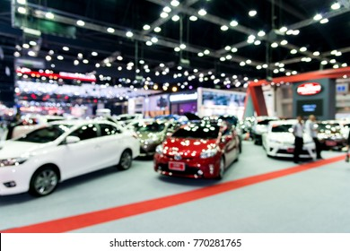 Abstract blurred image of people in cars exhibition show  including activities and innovative automotive  exhibitions at Thailand International Motor Expo 2017 in Nonthaburi, Bangkok, Thailand.