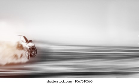 Abstract blurred of image two tone car drift on motion blur ground track.