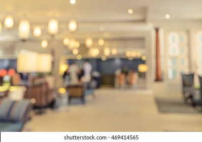 Abstract blurred interior hotel lobby background. Retro filtered effect image.