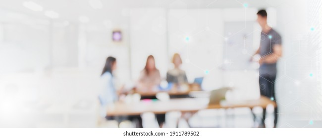 Abstract blurred interior modern office space with business people working banner background with copy space.