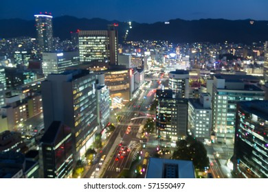 Abstract blurred Kobe city downtown light night view, abstract background
