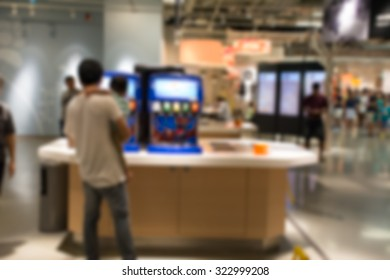 Abstract blurred Large modern food court in the Big shopping mall