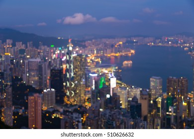 Abstract blurred light Hong Kong city downtown over Victory bay