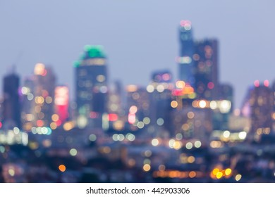 Abstract blurred lights city office building background, night view