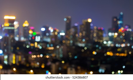 Abstract blurred lights city office building downtown background