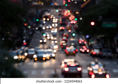Abstract blurred lights of evening traffic on 42nd Street in Midtown Manhattan New York City NYC