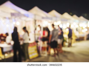 Abstract blurred lights of night market