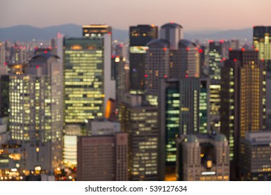 Abstract blurred lights night view Osaka downtown, abstract background, Japan