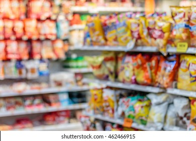 Abstract Blurred, Many products in the supermarket Stores, with bokeh Background.
