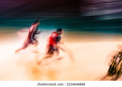 Abstract blurred in motion picture of basketball players long exposure