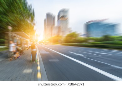 abstract of blurred motion urban road,shanghai,china.