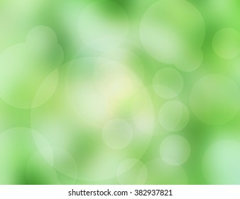 Abstract blurred nature background with circle bokeh light.  Green colors patterns. Blur backgrounds concept.