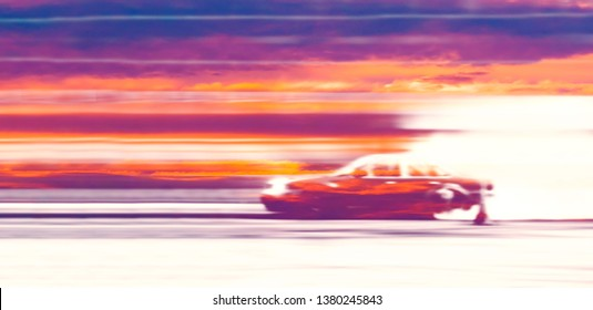 Abstract blurred old car drifting, Sport car wheel drifting and smoking on blurred background. Motorsport concept.