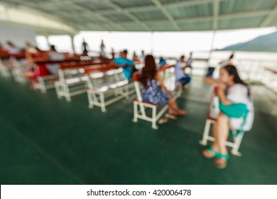 abstract blurred of passenger lobby on ferry background