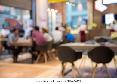 abstract blurred people in food and coffee shop
