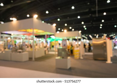 Abstract blurred people in trade show expo background usage