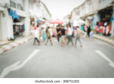 Abstract of blurred people walking on the street