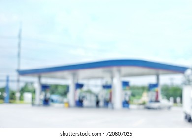 Abstract blurred of Petrol station for fuel the car.