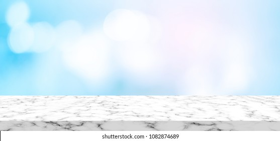 abstract blurred pharmacy drug store interior with granite marble perspective plank background, promote or advertise product on display backdrop