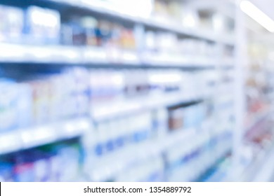 abstract blurred of pharmacy shelf with many healthcare product in drug store background concept