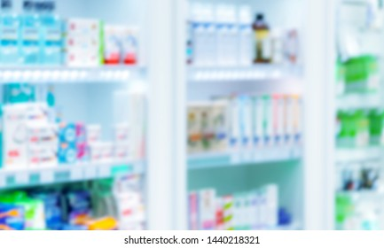 abstract blurred of pharmacy shelf with many healthcare product in drug store background concept          - Image