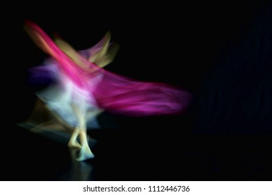 Abstract blurred photo of ballet dancer showing movement