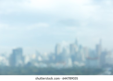 Abstract blurred photo of Bangkok cityscape, central business district of Thailand.