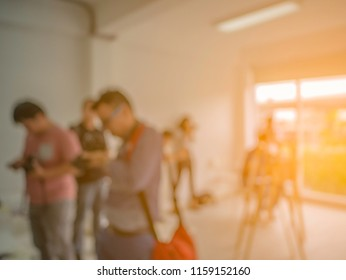 Abstract blurred photo of conference hall or seminar room with attendee background,Education concept