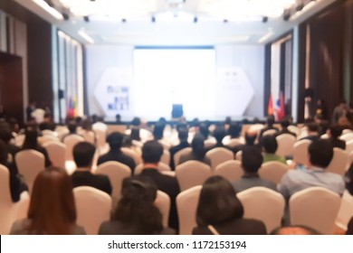 Abstract blurred photo of conference hall or seminar room