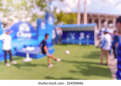 Abstract blurred photo of fan sport kicking the football at stadium, sport background concept