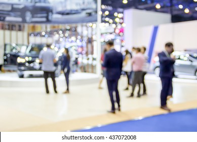 abstract blurred photo of motor show exhibition , car show room.