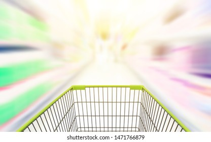 Abstract blurred photo of store with trolley in department store Shopping cart in supermarket.