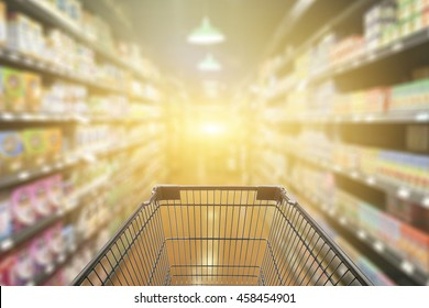 Abstract blurred photo of  trolley in department store bokeh background,Shopping cart in supermarket ,vintage color