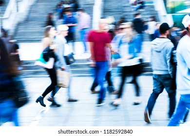 abstract blurred picture of crowds of people in the city
