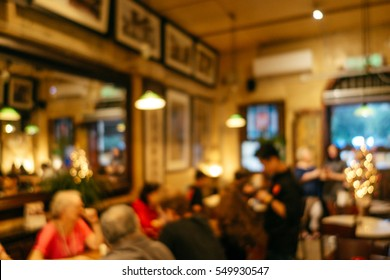 Abstract blurred restaurant or cafe interior background. Blurred background. Retro restaurant interior background.