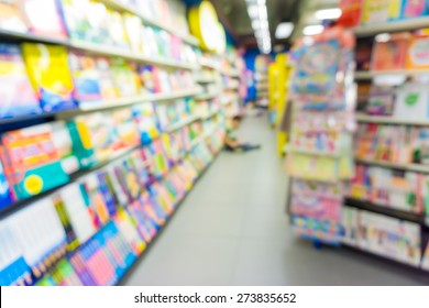 Abstract of blurred shelf in the book store, Blur image of bookstore