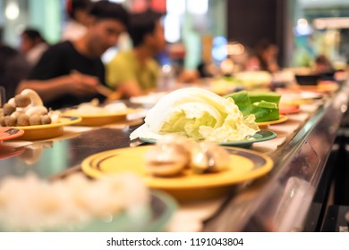 Abstract blurred shubu suki in japanese restaurant. Buffet.