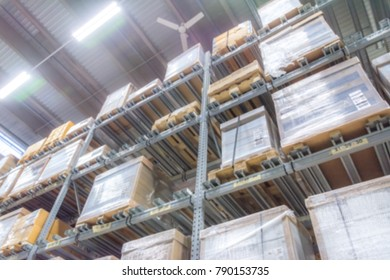Abstract Blurred Storage Warehouse Logistics Boxes Goods Background