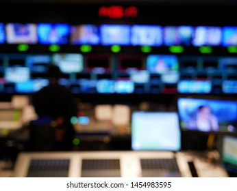 abstract blurred of studio at TV station,Television Broadcast.