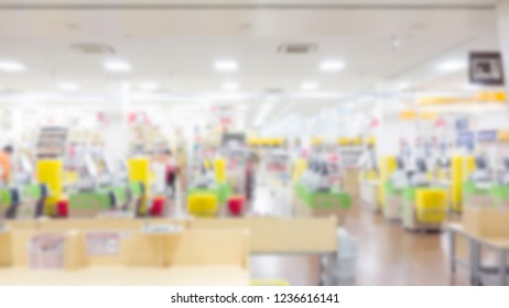 Abstract blurred supermarket aisle with colorful shelves and unrecognizable customers as background. supermarket in blurry for background