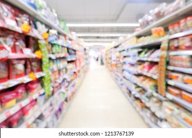 Abstract blurred supermarket with colorful shelves. this image for background