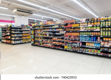 Abstract blurred in supermarket  and commodity product on shelf.
